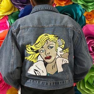 CISONO  XL denim jaket with design